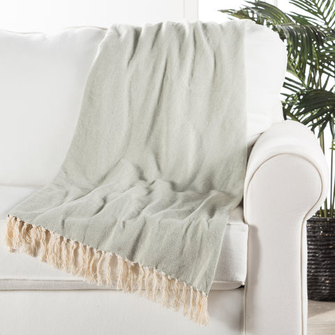 Cannon Light Blue & Cream Chevron Throw