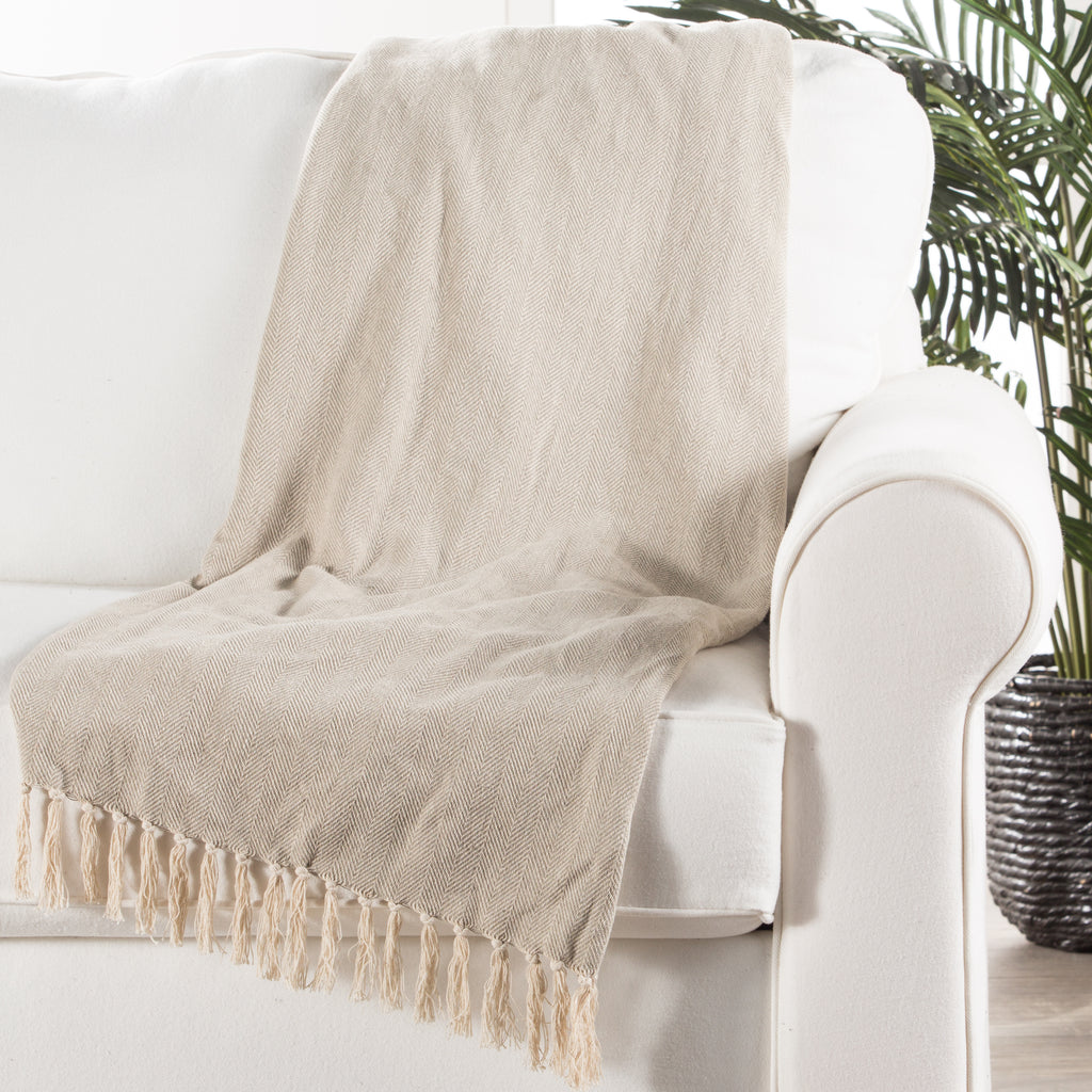 Seabreeze Throw in Neutral Gray & Birch design by Jaipur