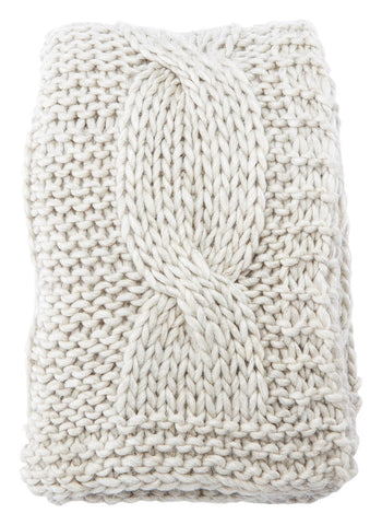 Koen Ivory Knit Throw