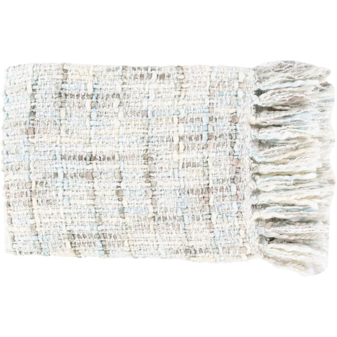 Saugatuck SGK-1000 Hand Woven Throw in Ivory by Surya