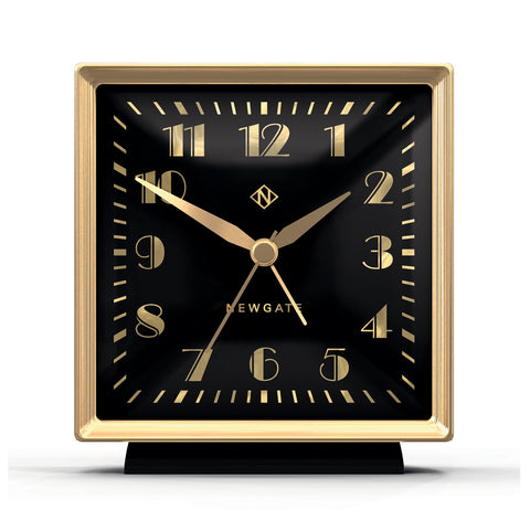 Skyscraper Alarm Clock in Gold with Black Face