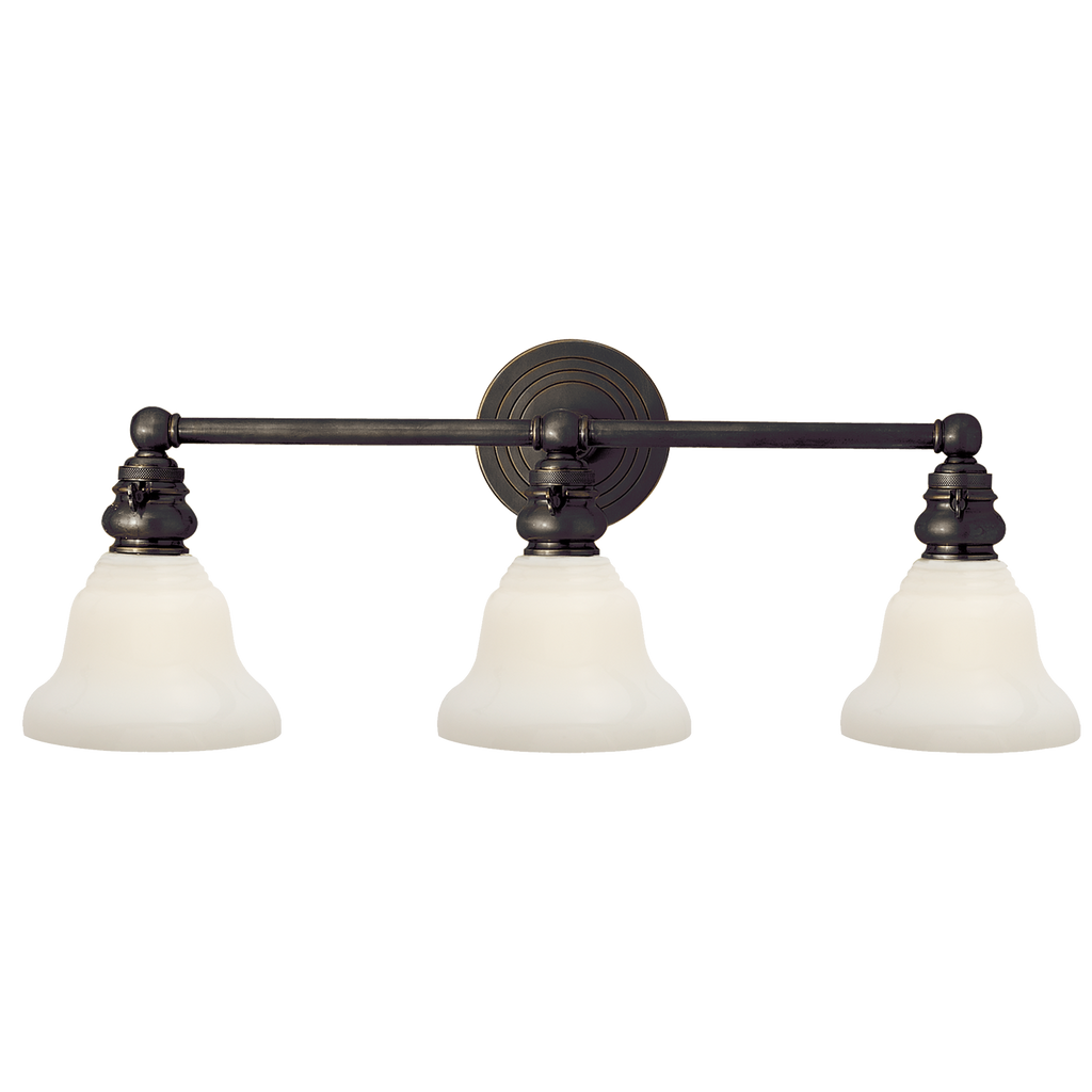 Boston Functional Triple Light in Bronze with White Glass