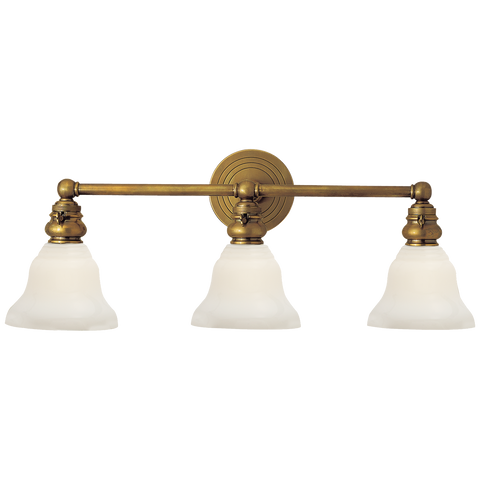 Boston Functional Triple Light in Hand-Rubbed Antique Brass with White Glass