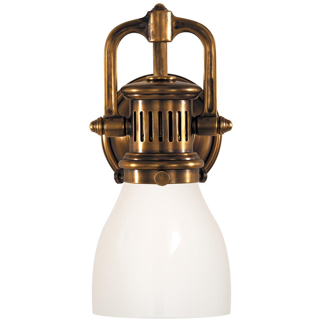 Yoke Suspended Sconce in Hand-Rubbed Antique Brass with White Glass