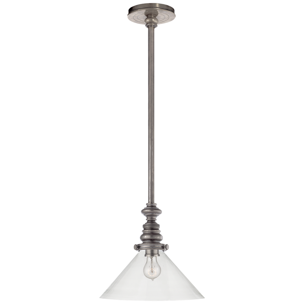 Boston Pendant in Antique Nickel with Clear Glass Slant Shade