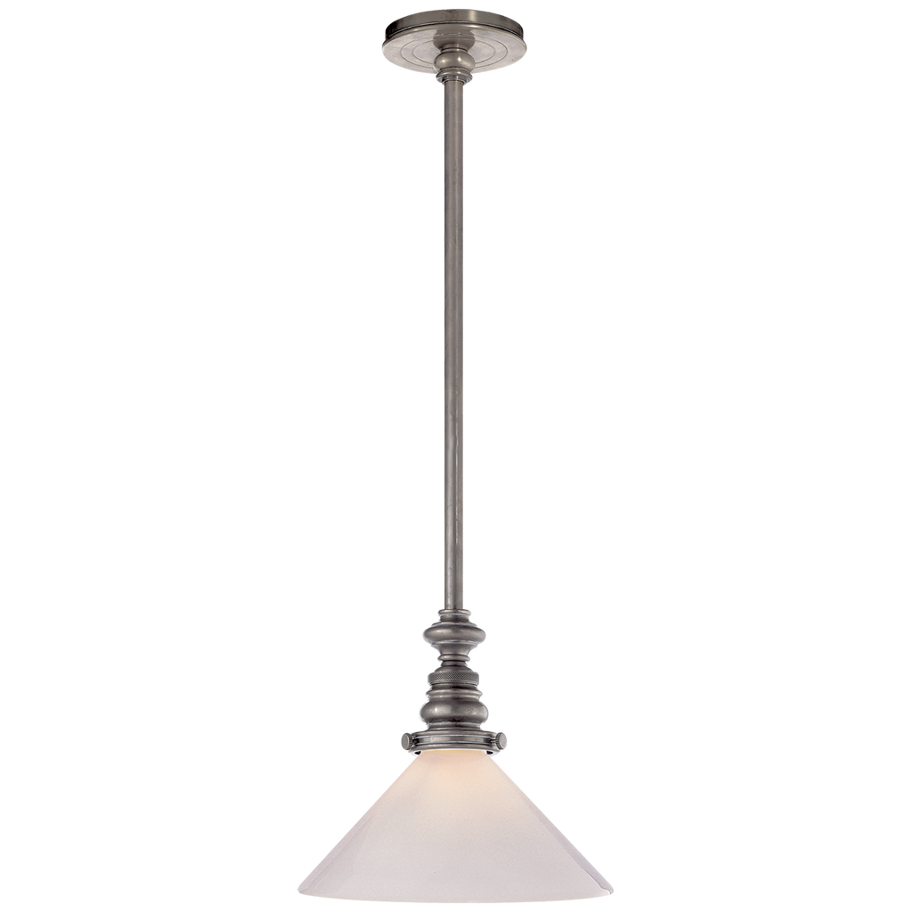 Boston Pendant in Antique Nickel with White Glass Slant Shade