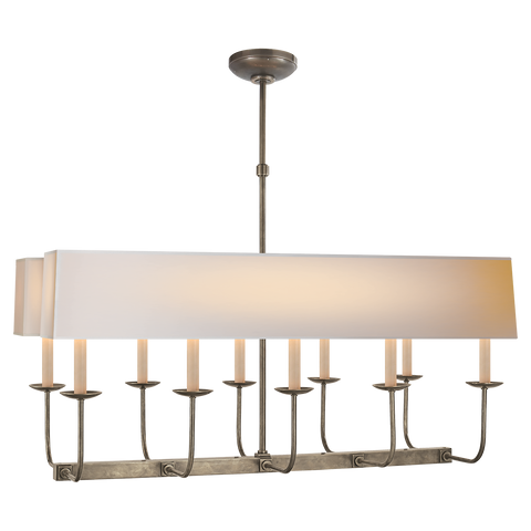 Linear Branched Chandelier in Antique Nickel with Natural Paper Rectangle Shade