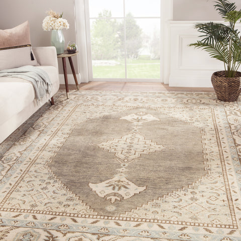 Farwell Hand-Knotted Medallion Blue & Ivory Area Rug