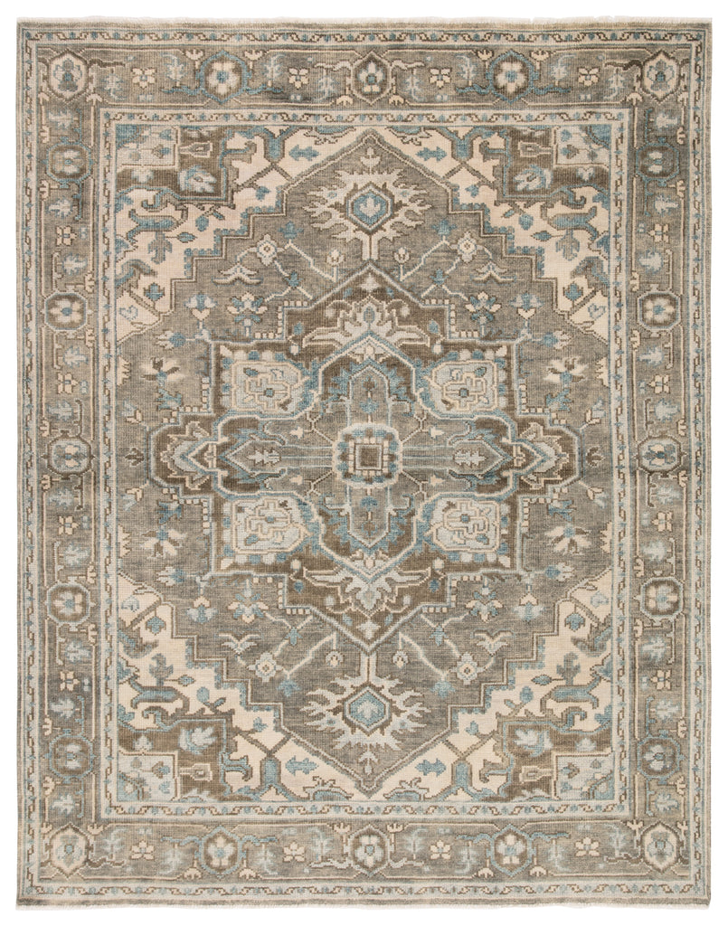 Flynn Hand-Knotted Medallion Gray & Blue Area Rug
