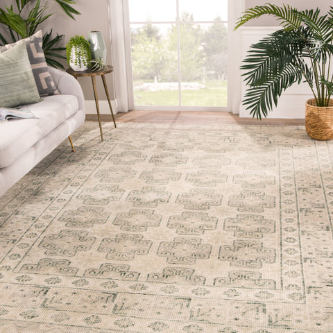 Stage Border Rug in Oatmeal & Whitecap Gray design by Jaipur