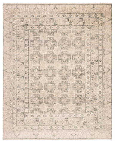Stage Hand-Knotted Border Ivory & Green Area Rug