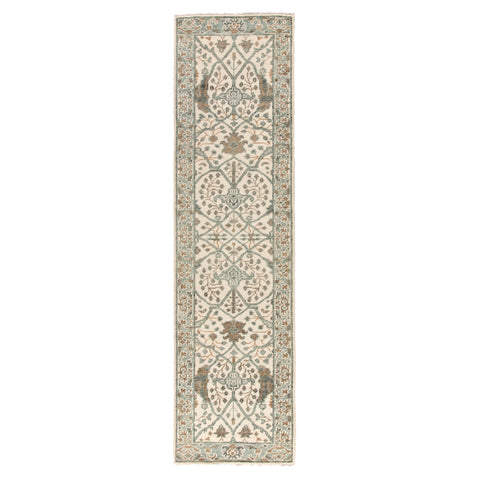 Slayton Hand-Knotted Medallion Ivory & Light Teal Area Rug