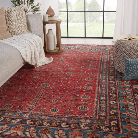 Donte Hand-Knotted Oriental Red & Blue Rug by Jaipur Living