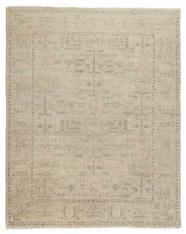 Ginerva Hand-Knotted Oriental Cream & Green Rug by Jaipur Living