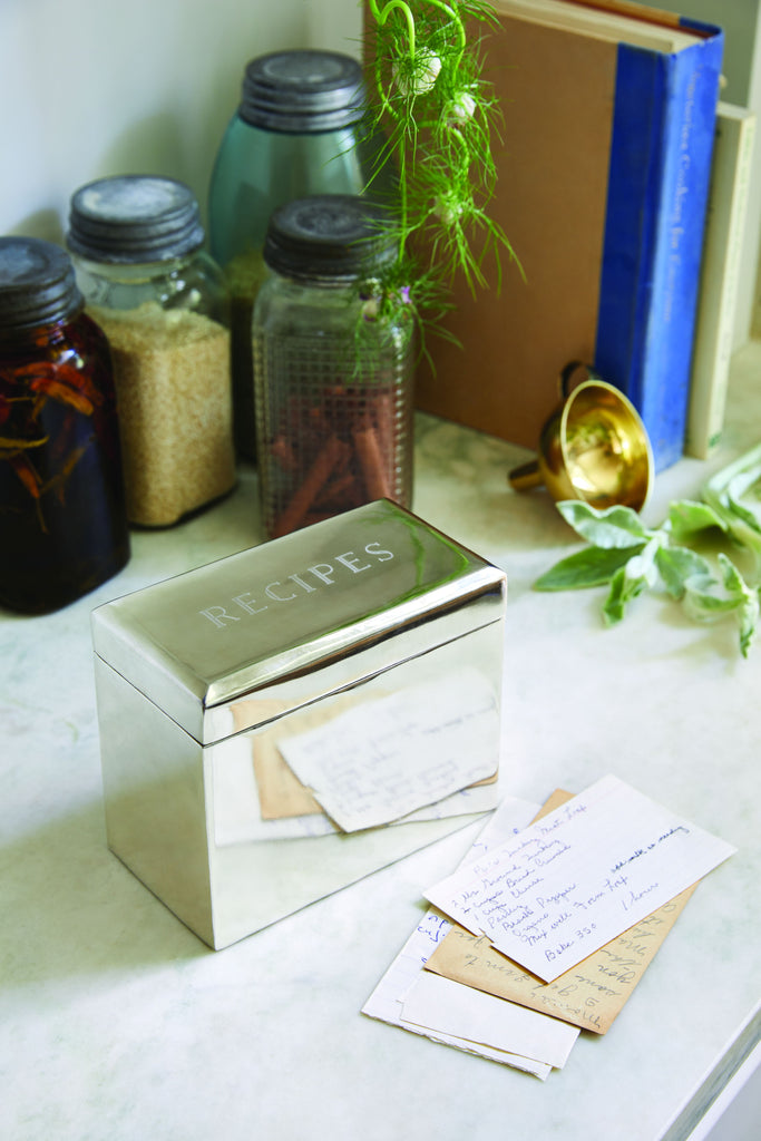 Beveled Recipe Box in Solid Brass design by Sir/Madam