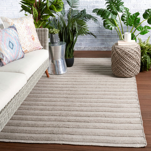 Miradero Indoor/Outdoor Striped Light Grey Rug by Jaipur Living