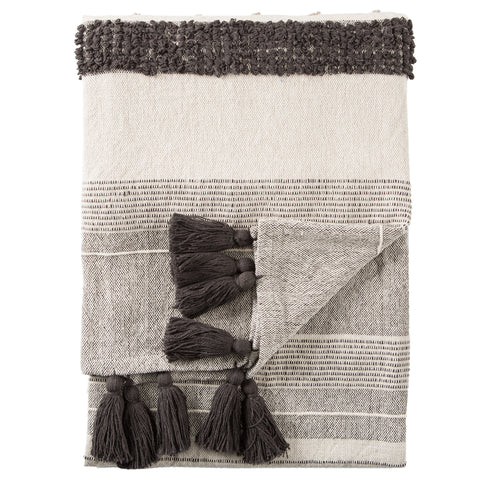 Sur Striped Gray & Ivory Throw design by Jaipur Living