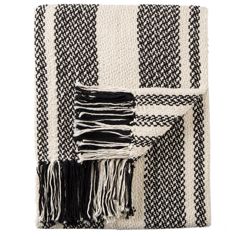 Notre Striped Black & White Throw design by Jaipur Living