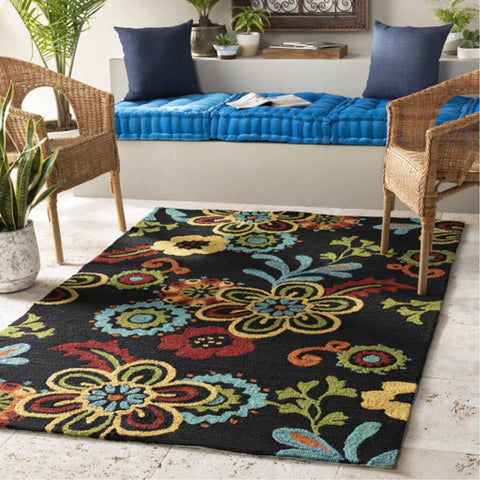 Storm SOM-7707 Indoor/Outdoor Rug in Black by Surya