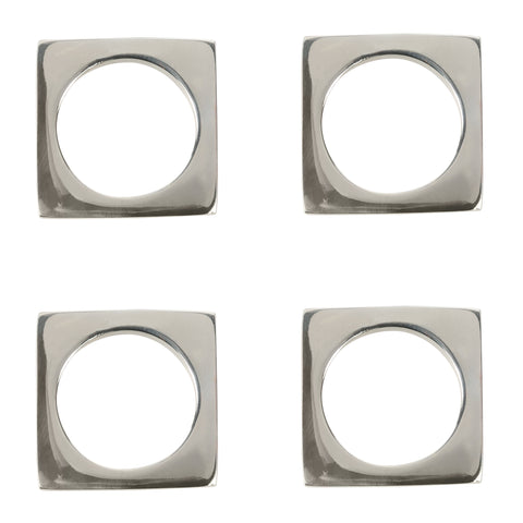 Set of 4 Modernist Napkin Rings in Silver Plated Brass design by Sir/Madam