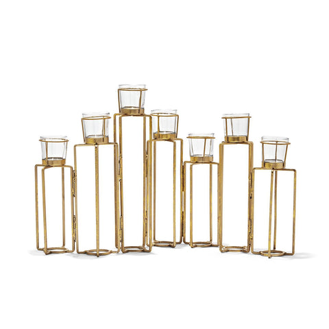Serpentine Set of 7 Gold Leaf Hinged Votive Candleholders