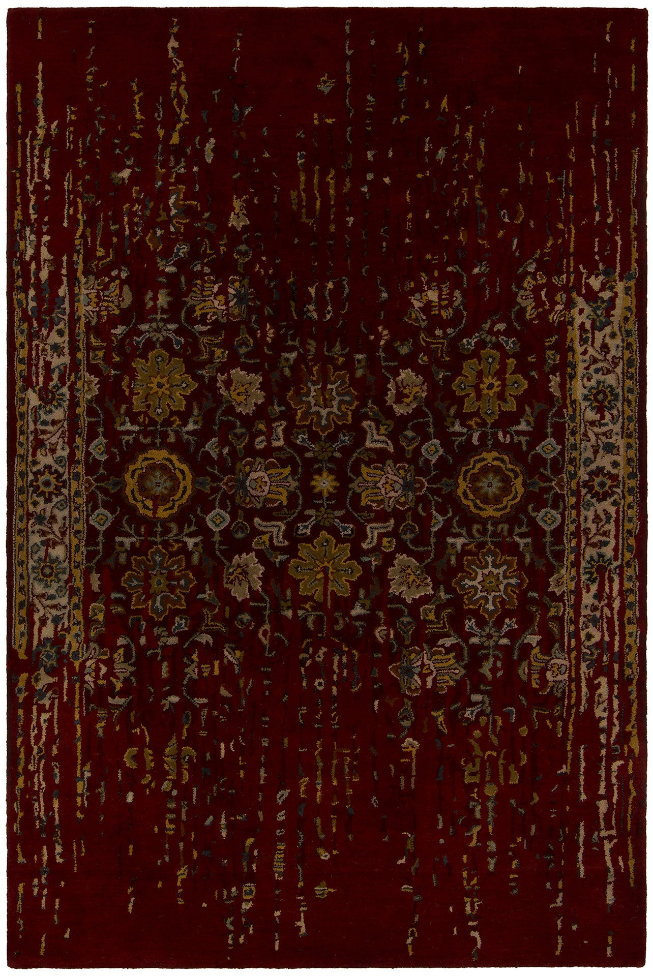 Spring Collection Hand Tufted Area Rug In Maroon Amp Gold