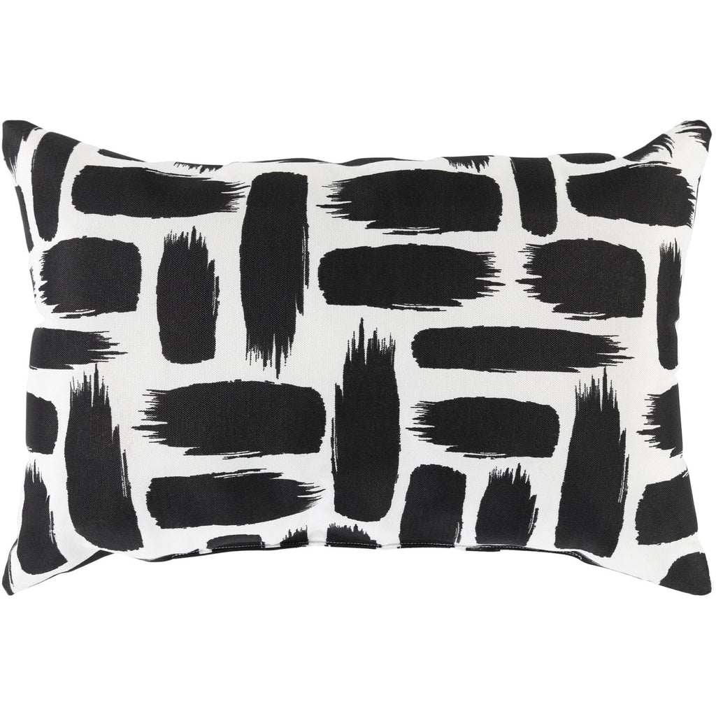 Stroke SRK-003 Woven Pillow in Black & White by Surya