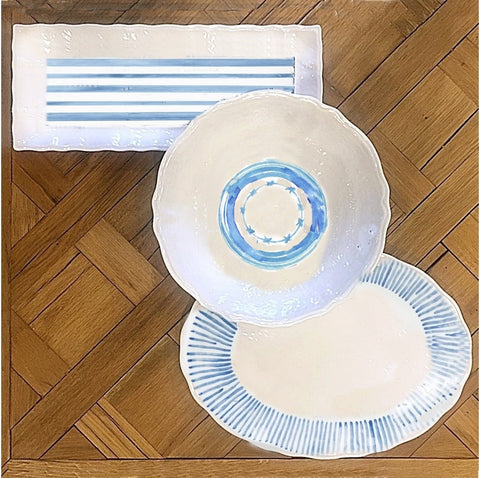 Blue & White Melamine Serving Set by Burke Decor