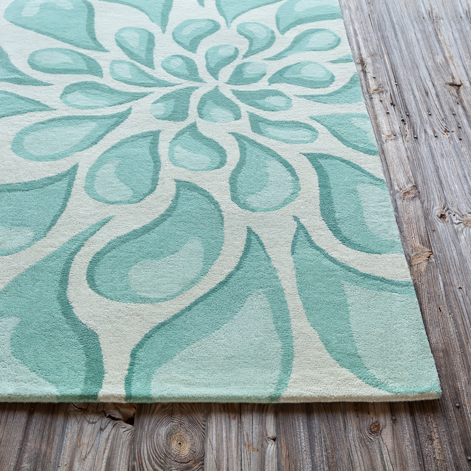 Stella Collection Hand Tufted Area Rug In Beige Light Aqua Design