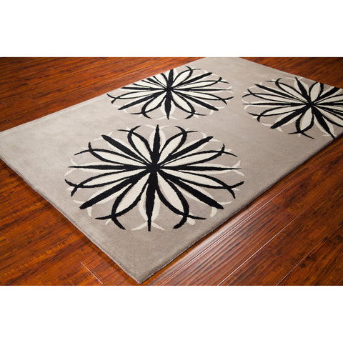 Stella Collection Hand-Tufted Area Rug in Taupe, Black, & Ivory design by Chandra rugs