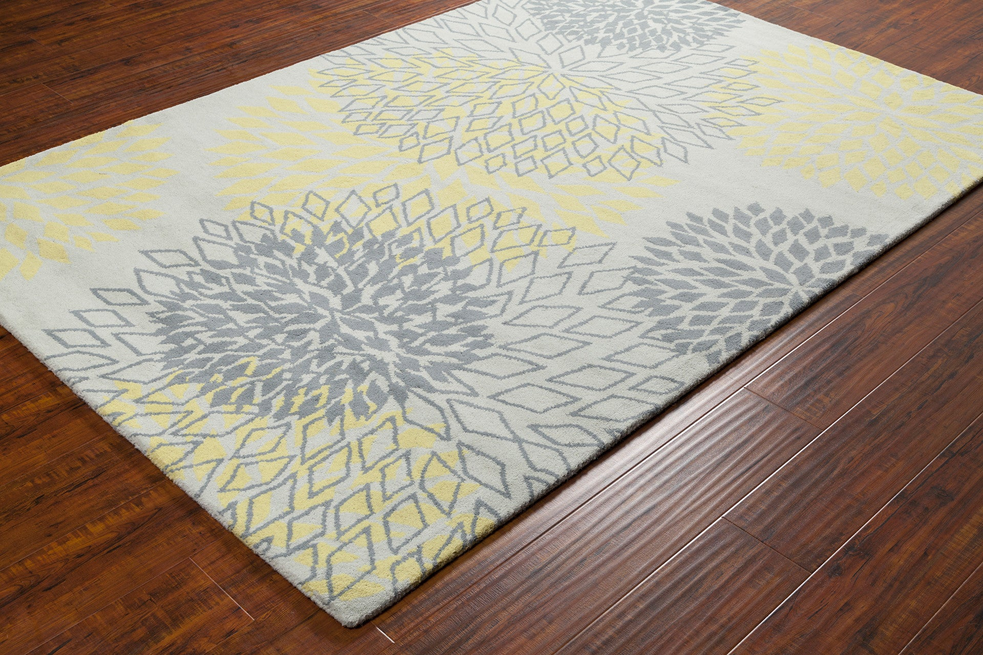 Stella Collection Hand Tufted Area Rug In Grey Amp Yellow