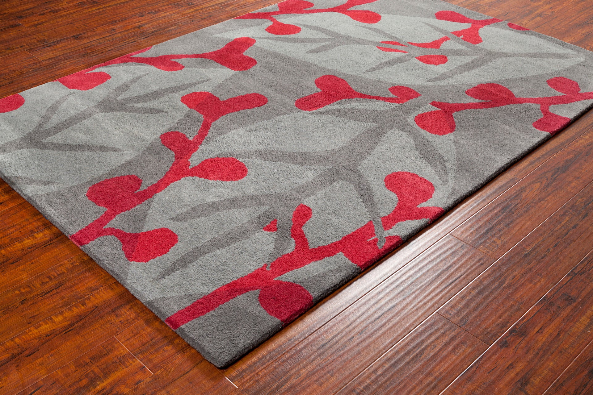 stella collection hand tufted area rug in grey red design by chandra burke decor. Black Bedroom Furniture Sets. Home Design Ideas