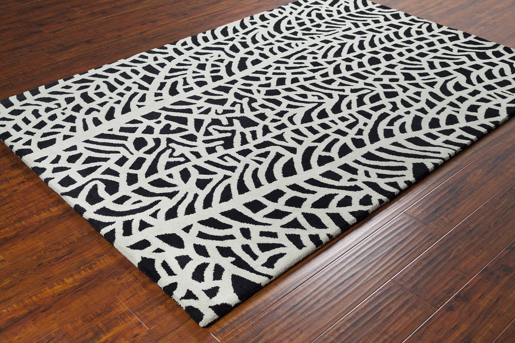 Stella Collection Hand-Tufted Area Rug in Black & Ivory design by Chandra rugs