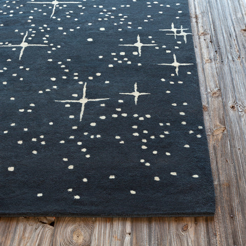 Stella Collection Hand-Tufted Area Rug in Black & Ivory