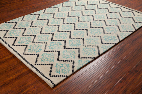 Stella Collection Hand-Tufted Area Rug in Cream, Blue, & Black design by Chandra rugs