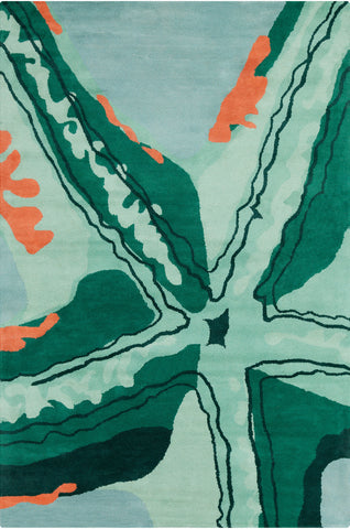 Stella Collection Hand-Tufted Area Rug in Aqua, Green, & Orange design by Chandra rugs