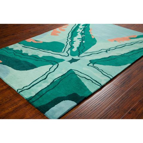 Stella Collection Hand-Tufted Area Rug in Aqua, Green, & Orange