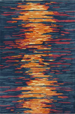 Stella Collection Hand-Tufted Area Rug in Blue, Red, & Orange design by Chandra rugs