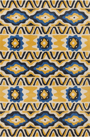 Stella Collection Hand-Tufted Area Rug in Cream, Yellow, & Blue design by Chandra rugs