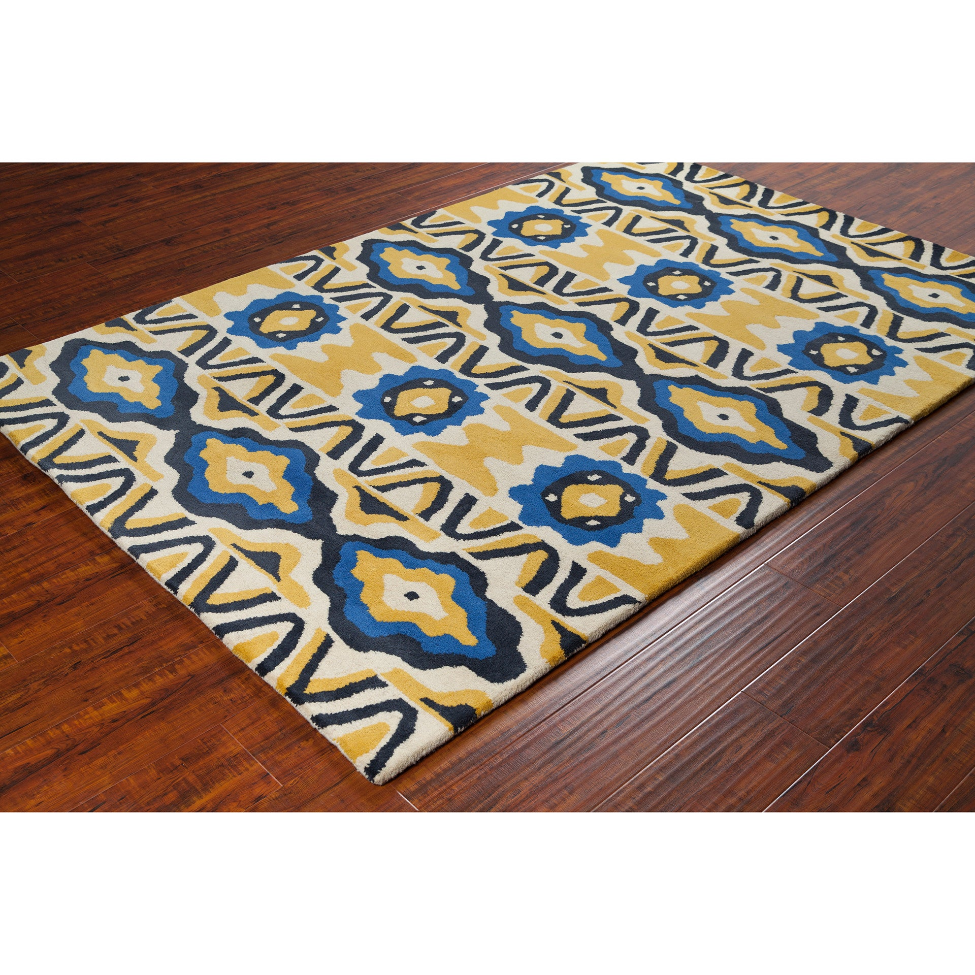 Stella Collection Hand Tufted Area Rug In Cream Yellow Blue Burke Decor
