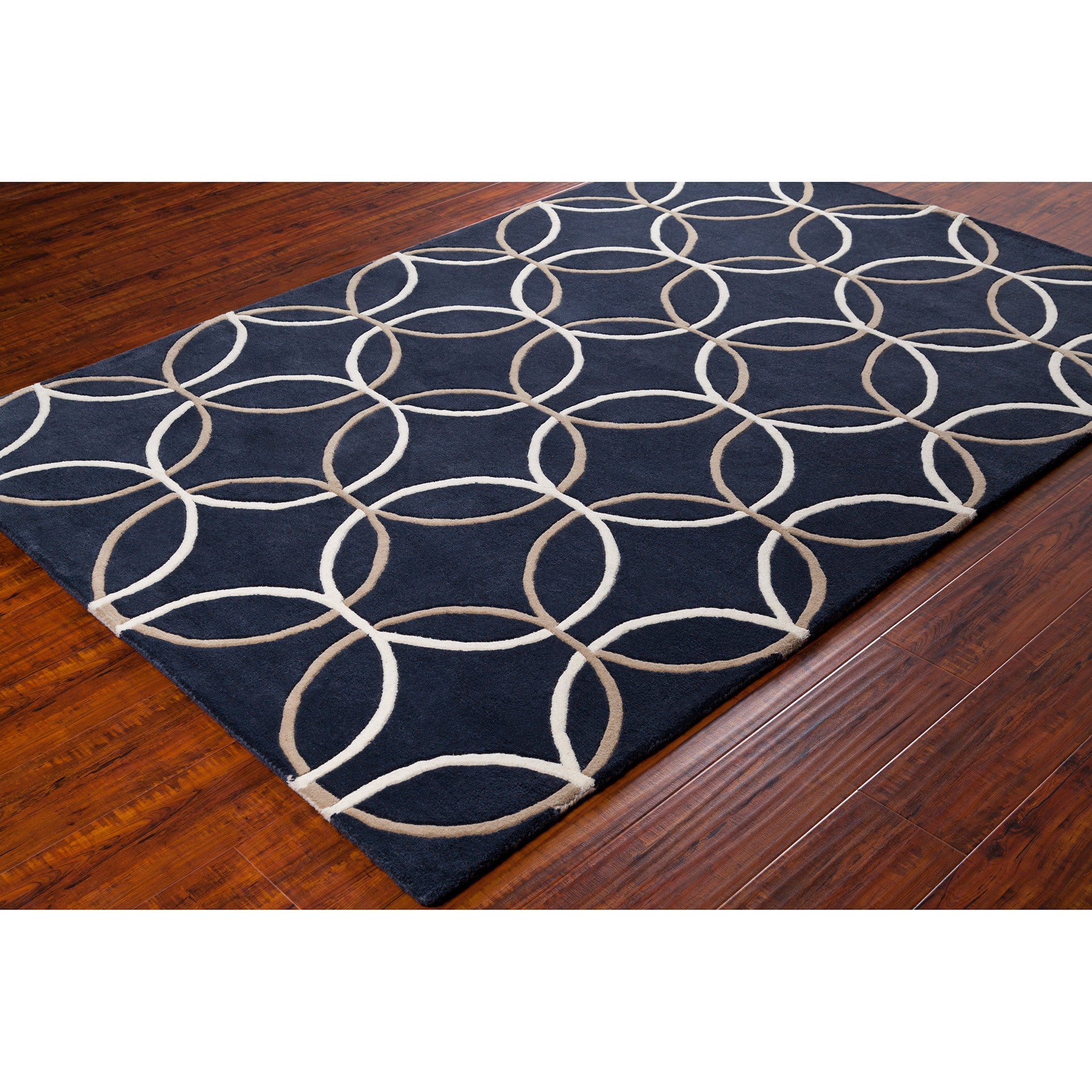 Chandra Stella Patterned Contemporary Wool Beige Aqua Area: Stella Collection Hand-Tufted Area Rug In Charcoal, Taupe