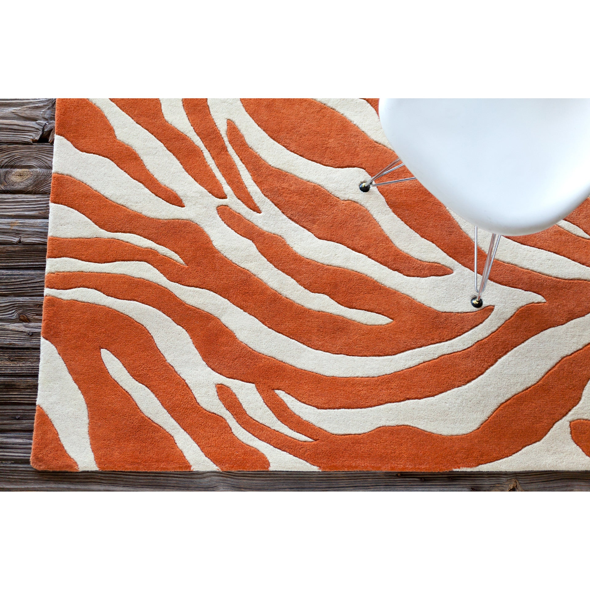 Chandra Stella Patterned Contemporary Wool Beige Aqua Area: Stella Collection Hand-Tufted Area Rug In Orange & White