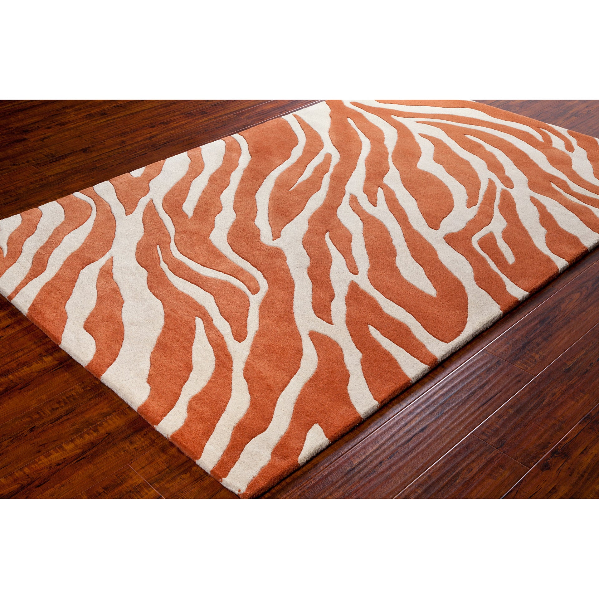 Stella Collection Hand Tufted Area Rug In Beige Light: Stella Collection Hand-Tufted Area Rug In Orange & White