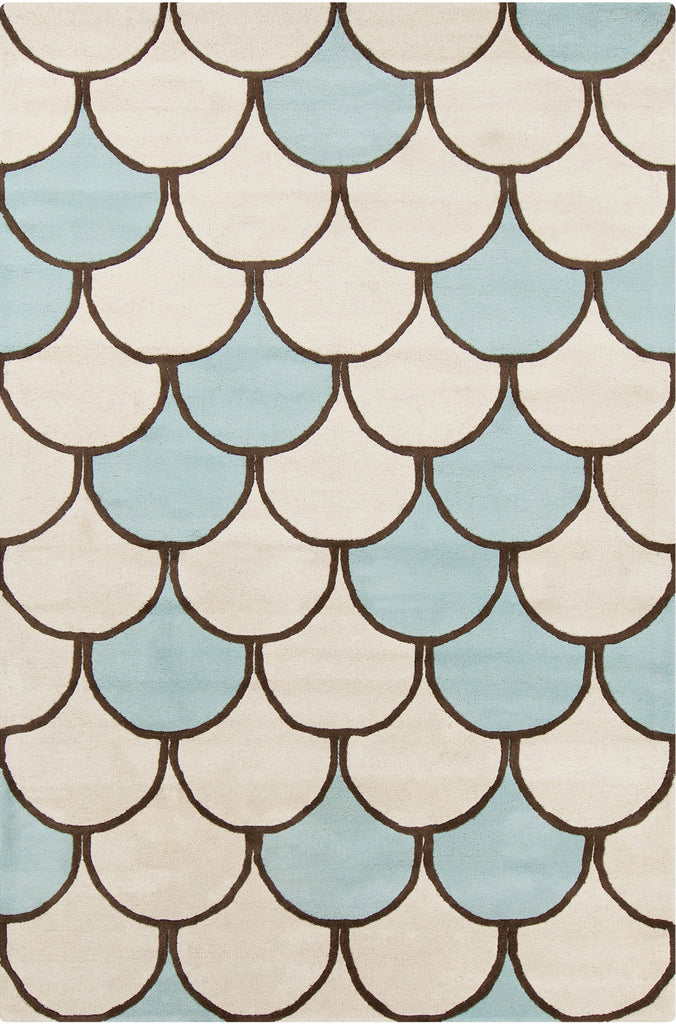 Stella Collection Hand-Tufted Area Rug in Cream, Blue, & Brown design by Chandra rugs
