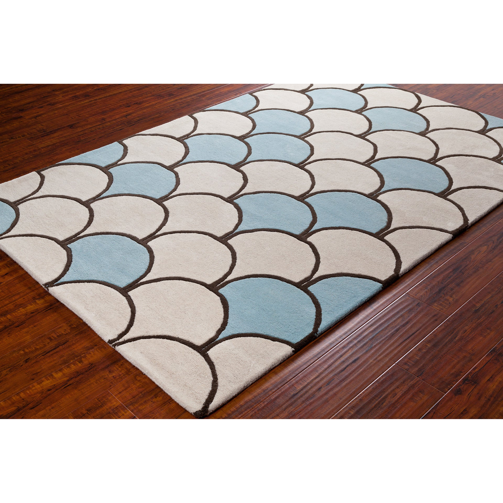 Chandra Stella Patterned Contemporary Wool Beige Aqua Area: Stella Collection Hand-Tufted Area Rug In Cream, Blue