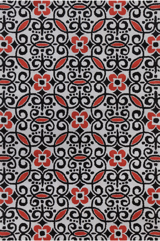 Stella Collection Hand-Tufted Area Rug in Grey, Red, & Black design by Chandra rugs