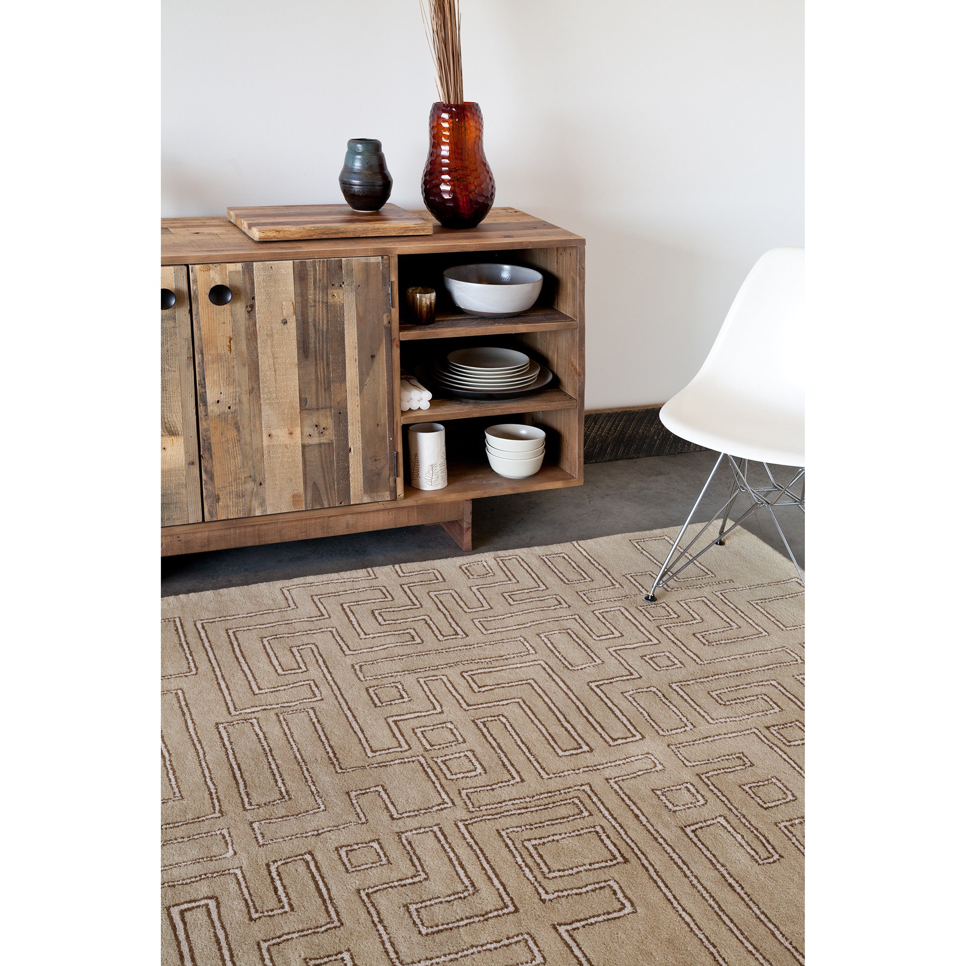 Stella Collection Hand Tufted Area Rug In Beige Light: Stella Collection Hand-Tufted Area Rug In Tan, Brown