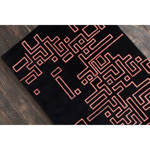 Stella Collection Hand-Tufted Area Rug in Black, Orange & Cream