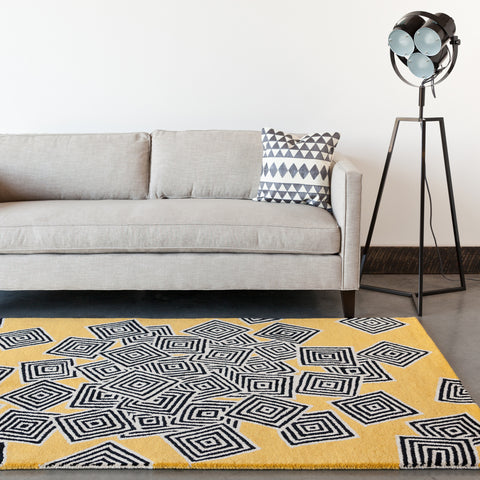 Stella Collection Hand-Tufted Area Rug in Yellow, Cream, & Black design by Chandra rugs