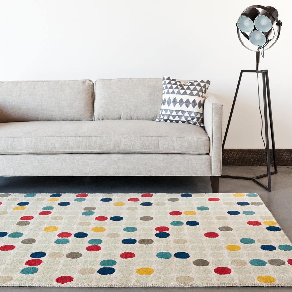 Stella Collection Hand-Tufted Area Rug in Cream, Red, Yellow, & Blue design by Chandra rugs